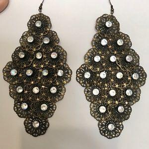 Jewelry - Huge Vintage Style Dangle AB Rhinestone Earrings